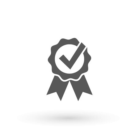Approve icon Approved or certified medal icon in a flat design. Rosette icon. Award vector Tick sign. Green checkmark OK, Simple marks graphic design. Circle symbols YES button for vote, Check box list. Check marks vector.