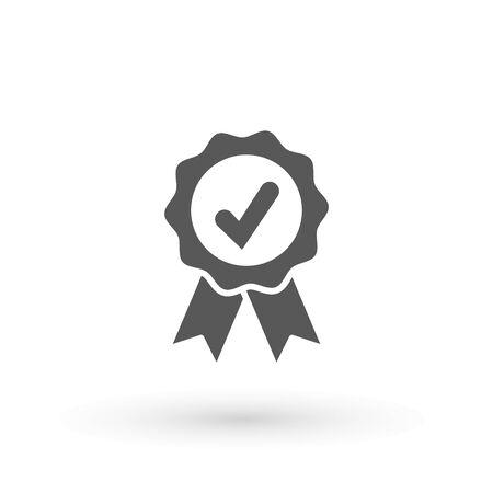 Icona di approvazione Icona di medaglia approvata o certificata in un design piatto. Icona di rosetta. Premio vettore Segno di spunta. Segno di spunta verde OK, design grafico con segni semplici. Simboli del cerchio Pulsante S per il voto, elenco delle caselle di controllo. Segni di spunta vettore. Vettoriali
