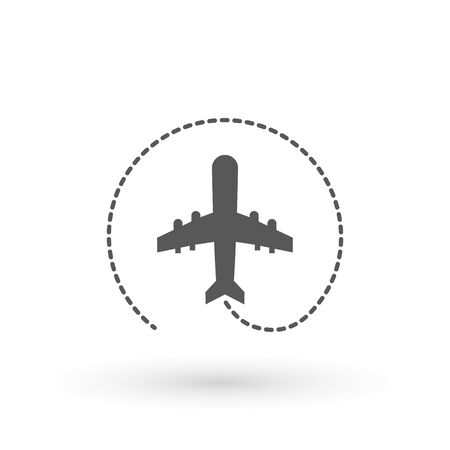 Plane icon. Flight transport symbol, airplane , fly airctaft, Aviation Vacation illustration. Travel icon solid illustration, pictogram isolated on white - Vector illustration