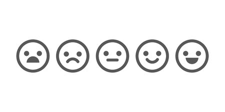 Vector illustration of satisfaction level. Range to assess the emotions of your content. Feedback in form of emotions. User experience, customer feedback