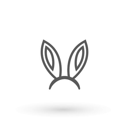 Rabbit, easter bunny ears icon Easter bunny mask. spring hat on a white background. Headdress, costume isolated element for the celebration of. Vector Illustration.