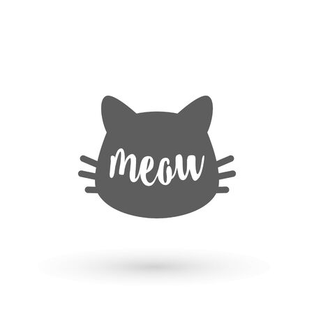 Cat graphic. Meow handwriting lettering. Typography slogan Kittty face on white background with hand written text meow. Cat head silhouette