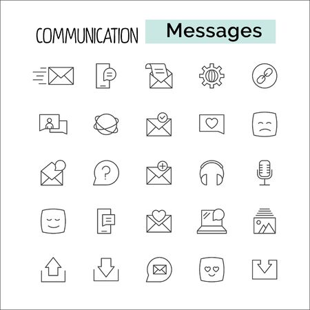 Media and communication message related Line outline vector icons. Includes such as Phone Calls, Video Chat, On-line Support and other. Editable Strok