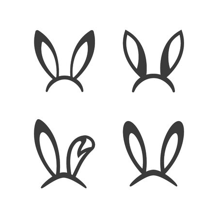 Rabbit, easter bunny ears icon set Easter bunny mask. spring hat on a white background. Headdress, costume isolated element for the celebration of. Vector Illustration.