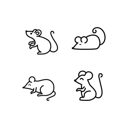 Mouse vector icons set. Line vector figure of mouse. Vector outline forest animal for web and design. Chinese horoscope thin line icon.