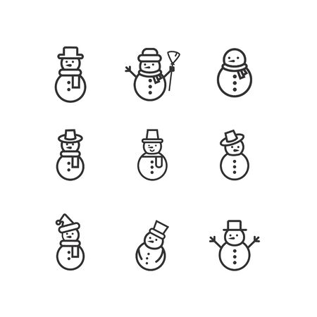 Snowman icons set vector illustration on white background for Christmas design. Snowman xmas icon.