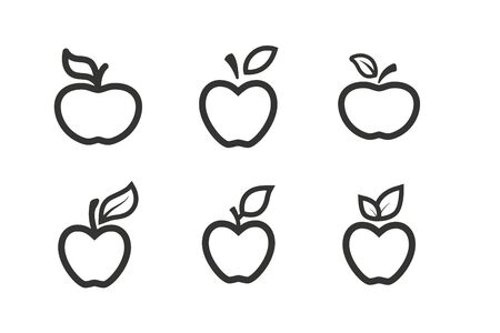 Apple fruit line icons set. Organic nutrition healthy food. Hand draw illustration. Apples Isolated on white background. - Vector. Stock Illustratie