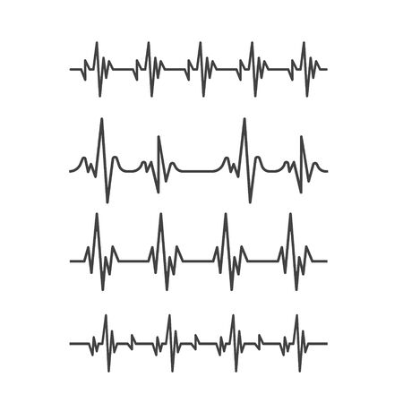 Heartbeat icon. Set of sinusoidal pulse lines isolated on white background. cardiogram lines Ilustracja