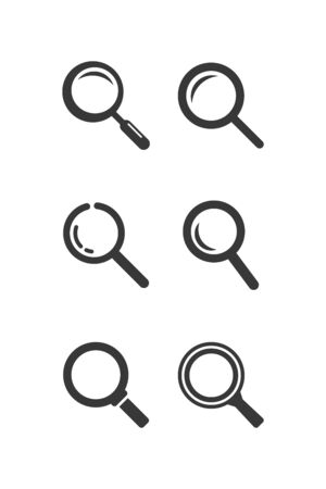 Search icon set. Magnifying glass icon. Black illustration isolated on white background. Vector illustration