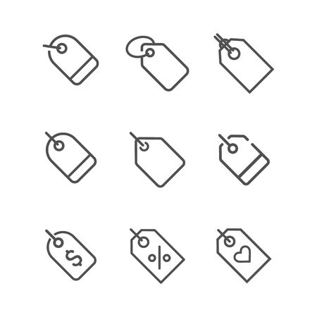 Price tag icons set. Sale Label Price Tags Icon Pictogram Isolated Vector. Discount ecommerce shopping Stock Illustratie