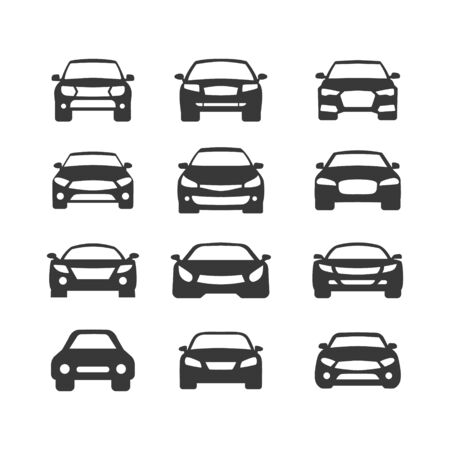 Car vector icons set. Isolated simple view front illustration. Sign symbol. Auto style car logo design with concept sports vehicle icon silhouette Stock Illustratie