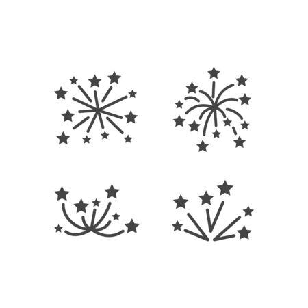 fireworks line icon set, happy new year firework