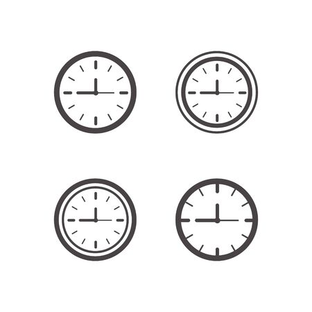 Clock icons set in trendy flat style isolated on background. Clock icon page symbol for your web site design Time symbol.