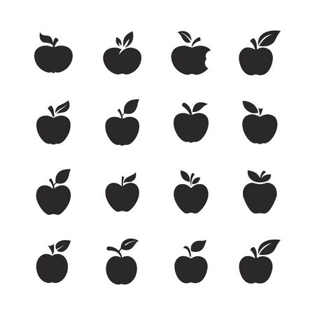 Apple fruit icons set. Organic nutrition healthy food. Hand draw illustration. Apples Isolated on white background. - Vector.