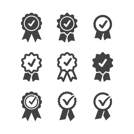 Approve icons set Approved or certified medal icon in a flat design. Rosette icon. Award vector Tick sign. Green checkmark OK, Simple marks graphic design. Circle symbols YES button for vote, Check box list. Check marks vector. Stock Illustratie