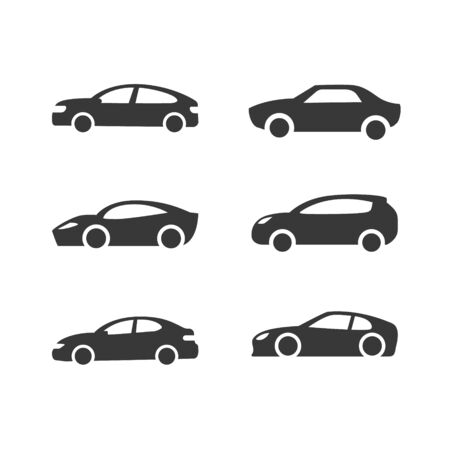 Car vector icons set. Isolated simple front illustration. Sign symbol. Auto style cars design with concept sports vehicle icon silhouette. Stock Illustratie