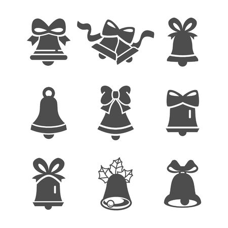 Bells icon set. Flat Vector icons - illustration of christmas bell set icon isolated on white