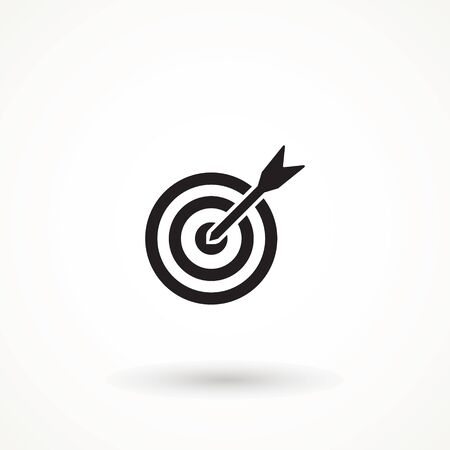 target icon. dart board. archery board. dartboard vector icon. Grey aim, arrow, Idea concept, perfect hit, winner, target goal icon. Success abstract pin logo