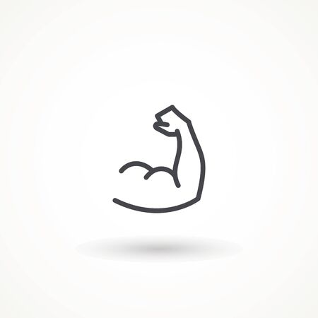 Flexing bicep muscle arm strength or power line editable strok vector icon for exercise. biceps musclar arm icon isolated on white background. Sport and fitness symbol
