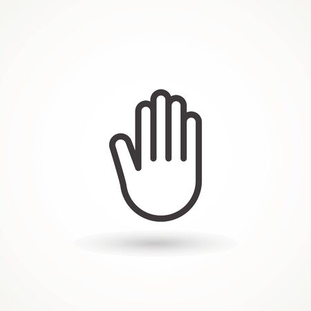 Stop hand icon isolated on white background, for website design, mobile application, ui. Editable strok