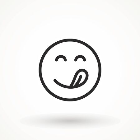 Yummy smile emoticon with tongue lick mouth icon. Tasty food eating emoji face. Delicious cartoon with saliva drops on white background. Smile face line design. Savory gourmet. Yummy vector