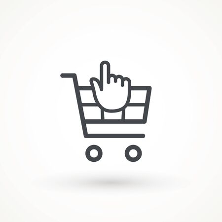 Shopping cart line icon, vector sign, linear style pictogram isolated on white. Online shopping basket symbol, illustration.