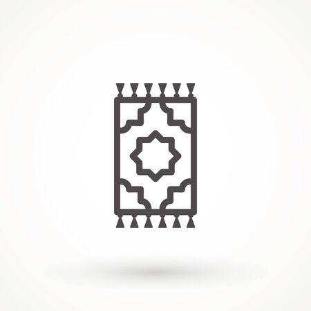 Carpet rug icon. Editable stroke linear outline Turkish Islamic Prayer carpet Praying icon