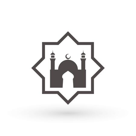 Mosque Icon, place of worship of Muslims. Islamic template, stencil, pattern, grey mosque, icon, isolated on white background. Vector. 일러스트
