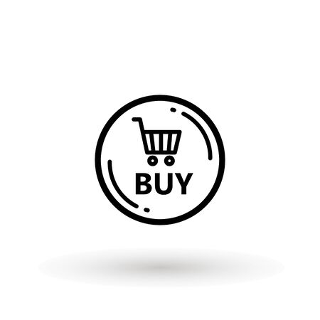 Sale icon : buy now signage. shopping cart buy now line icon button in vector file isolated on white background. Foto de archivo - 145168907