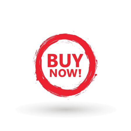 Sale icon : buy now signage. Red brash buy now icon button in vector file isolated on white background. Foto de archivo - 145168914