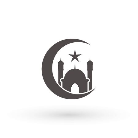 moon mosque icon islam muslim religion spirituality religious vector icon