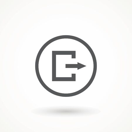 Emergency exit icon vector Logout and output, outlet, out symbol. isolated of flat style Safe condition sign