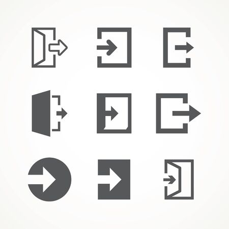 Emergency exit icons set vector Logout and output, outlet, out symbol icon isolated of flat style Safe condition sign Vettoriali