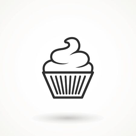 vanilla cream cupcake muffin icon illustration confectionery bakery pastry line icon sign logo on isolated background Sweet food symbol