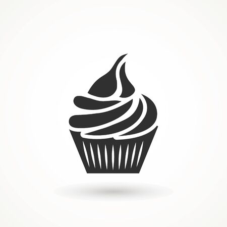 vanilla cream cupcake muffin icon illustration confectionery bakery pastry icon sign logo on isolated background Sweet food symbol