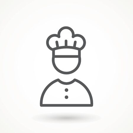 Chef in a cooking hat vector outline logo. Kitchen Cook icon line symbol. Premium quality isolated vector illustrator sign Restaurant, menu professional, occupation concept Vector catering, food