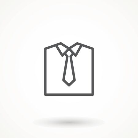 Shirt Icon, Cloth Icon, Upper Body Garment With Collar, Sleeves And Cuffs Vector Art Illustration Folded shirt line icon. Modern vector Illustration of men's wear. 矢量图像