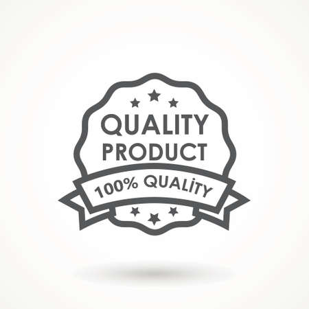 100% Quality product Ribbon Approved certificate icon isolated on white background Illusztráció