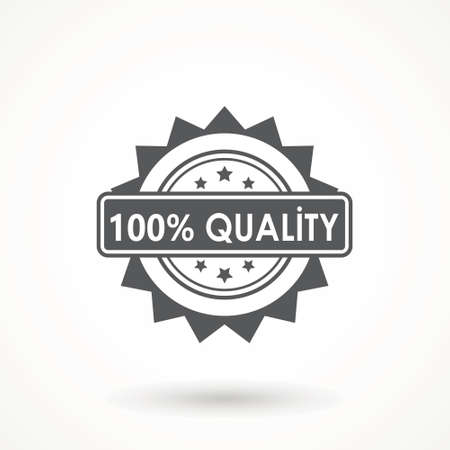 100% Quality product Ribbon Approved certificate icon isolated on white background Ilustração