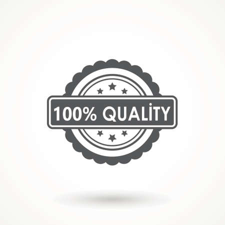 100% Quality product Ribbon Approved certificate icon isolated on white background Illustration
