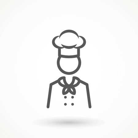 Chef in a cooking hat vector outline logo. Kitchen Cook icon line symbol. Premium quality isolated vector illustrator sign Restaurant, menu professional, occupation concept Vector catering, food  イラスト・ベクター素材