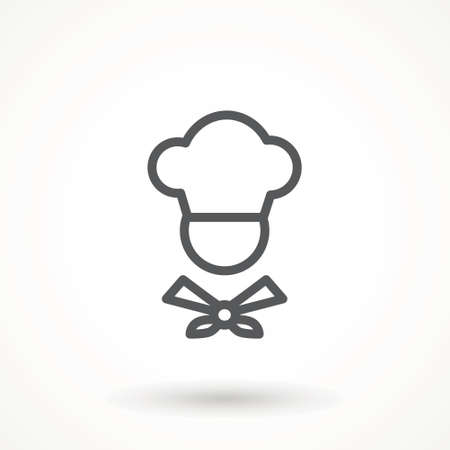 Chef in a cooking hat vector outline logo. Kitchen Cook icon line symbol. Premium quality isolated vector illustrator sign Restaurant, menu professional, occupation concept Vector catering, food Illustration