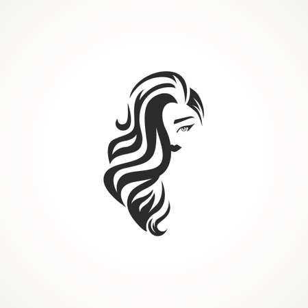 illustration of woman hair style icon, logo woman on white background,