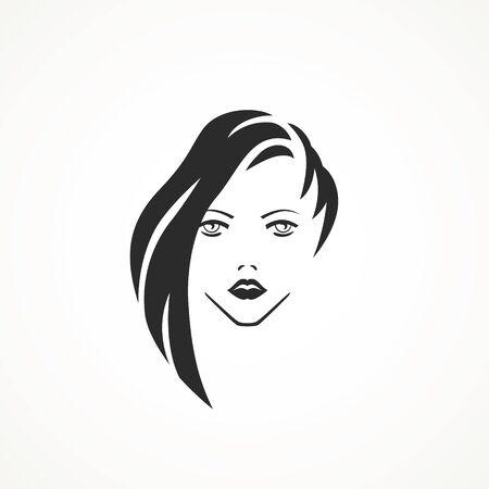 illustration of woman hair style icon, logo woman on white background,