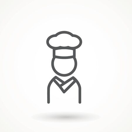 Chef in a cooking hat vector outline logo. Kitchen Cook icon line symbol. Premium quality isolated vector illustrator sign Restaurant, menu professional, occupation concept Vector catering, food Ilustração