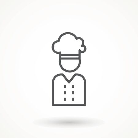 Chef in a cooking hat vector outline logo. Kitchen Cook icon line symbol. Premium quality isolated vector illustrator sign Restaurant, menu professional, occupation concept Vector catering, food 矢量图像