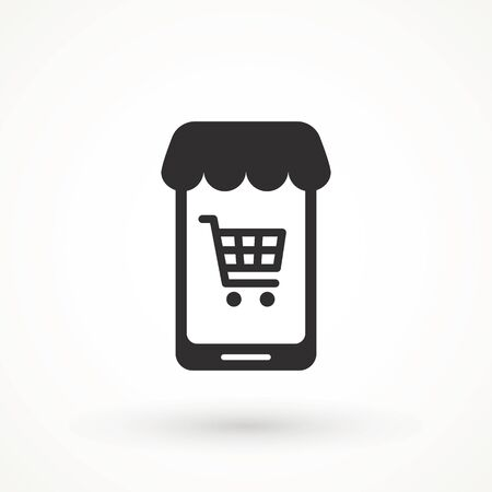 Shopping Online on Website or Mobile Application Vector Icon. E-shop icon. Web sale sign Marketing and Digital marketing Add to cart shopping online icon Illustration