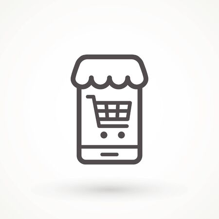 Shopping Online on Website or Mobile Application Vector Icon. E-shop icon. Web sale sign Marketing and Digital marketing Add to cart shopping online icon Ilustração