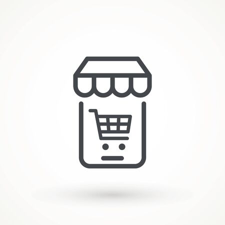 Shopping Online on Website or Mobile Application Vector Icon. E-shop icon. Web sale sign Marketing and Digital marketing Add to cart shopping online icon  イラスト・ベクター素材