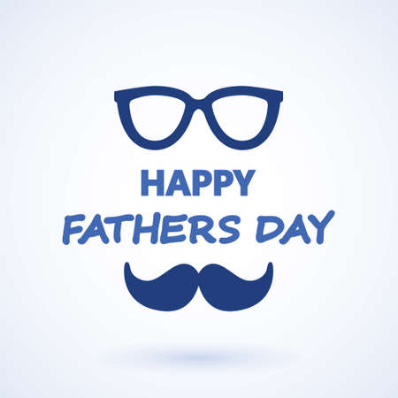 Happy fathers day. glasses and tie greeting card. Vector illustration. Happy Father's Day